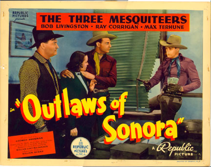 """Outlaws of Sonora"" 3 Mesquiteers Title Card"