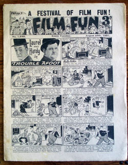 "FILM FUN (8/25/51) English publication. Films and film stars adapted into comic strip form. Laurel and Hardy,""Old Mother Riley"", ""Fury of the Cargo""—Jungle Jim/Johnny Weissmuller text adaptation, ""Riders of the Range""—Tim Holt (Part 2), Abbott and Costello, more.(VG)"