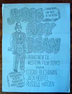 """Judge Roy Bean"" TV series. 4 page 8 x 10"" promotional flyer for sponsors and TV stations. From Russell Hayden's personal memorabilia (Comes with a letter testifying it was purchased from Mrs. Russell Hayden at their Pioneertown ranch.)."