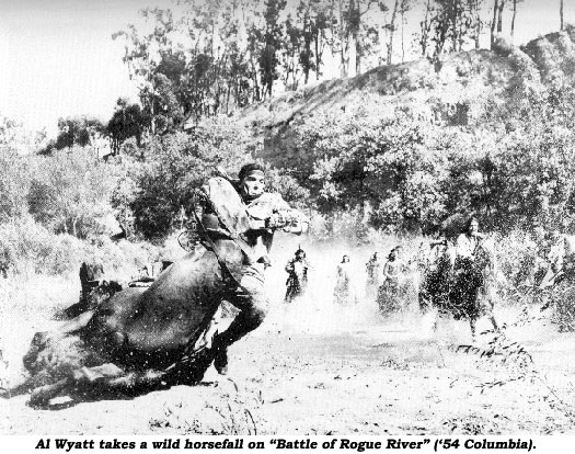 "Al Wyatt takes a wild horsefall on ""Battle of Rogue River"" ('54 Columbia)."