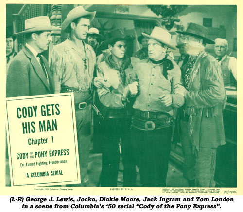 "(L-R) George J. Lewis, Jocko, Dickie Moore, Jack Ingram and Tom London in a scene from Columbia's '50 serial ""Cody of the Pony Express""."