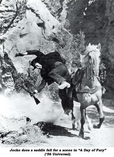 "Jocko does a saddle fall for a scene in ""A Day of Fury"" ('56 Universal)."