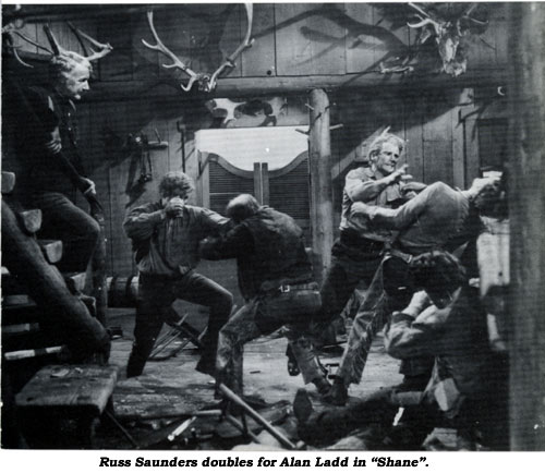"Russ Saunders doubles for Alan Ladd in ""Shane""."