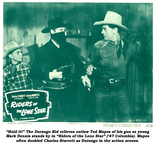 """Hold it!"" The Durango Kid relieves outlaw Ted Mapes of his gun as young Mark Dennis stands by in ""Riders of the Lone Star"" ('47 Columbia). Mapes often doubled Charles Starrett as Durango in the action scenes."
