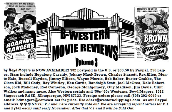 Ad for Vol 3 of B-Western Movie Reviews