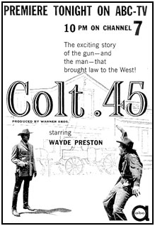 """TV GUIDE ad for """"Colt .45""""."""