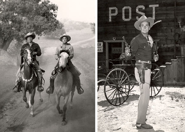 "Two photos from Russell Hayden's personal collection. One-Russell and Jackie Coogan riding from ""Cowboy G-Men"". Two Russell with guns drawn from ""Cowboy G-Men""."