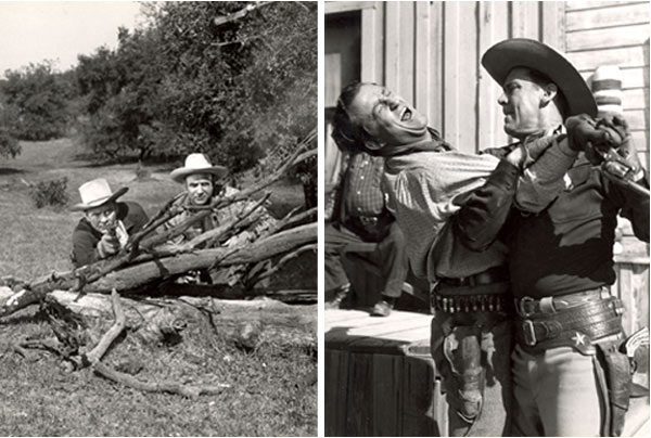 "Two photos from Russell Hayden's personal collection. One-Russell and Jackie Coogan guns drawn, behind brush from ""Cowboy G-Men"". Two Russell fights with badguy from ""Cowboy G-Men""."