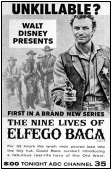 "TV GUIDE ad for ""The Nine Lives of Elfego Baca""."