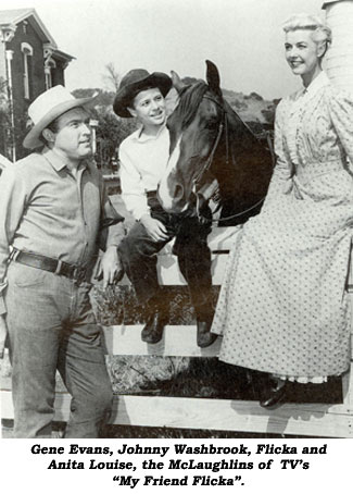 "Gene Evans, Johnny Washbrook, Flicka and Anita Louise, the McLaughlins of TV's ""My Friend Flicka""."