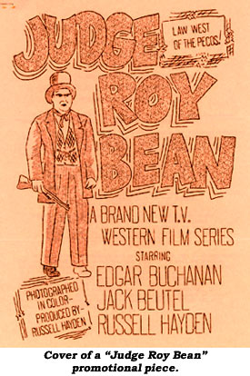 "Cover of a ""Judge Roy Bean"" promotional piece."