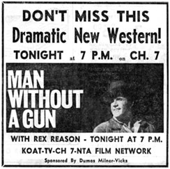 "Newspaper ad for ""Man Without a Gun"""