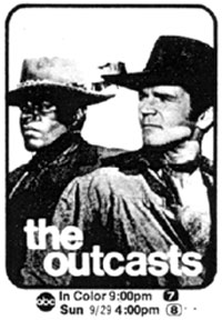"TV GUIDE ad for ""The Outcasts""."