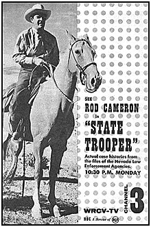 "TV GUIDE ad for ""State Trooper"" on WRCV-TV Channel 3."