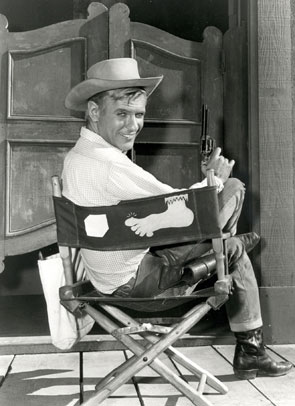 "Will Hutchins as Sugarfoot sitting in his ""Sweet Toes"" chair."