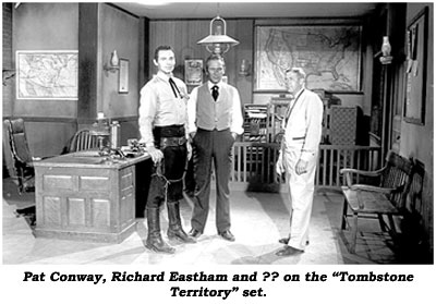 "Pat Conway, Richard Eastham and ?? on the ""Tombstone Territory"" set."