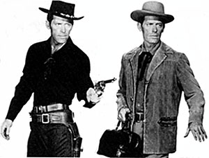 Twin brothers. Charles Bateman as gunfighter brother Ben and as doctor brother Rick.