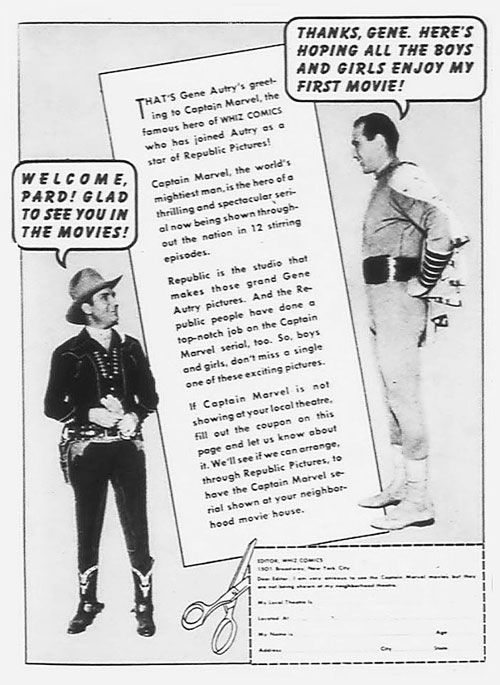 "Ad for Republic Pictures' ""The Adventures of Captain Marvel"" serial. Gene Autry welcomes Captain Marvel to Republic."