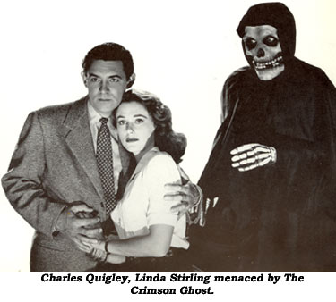 Charles Quigley, Linda Stirling menaced by The Crimson Ghost.