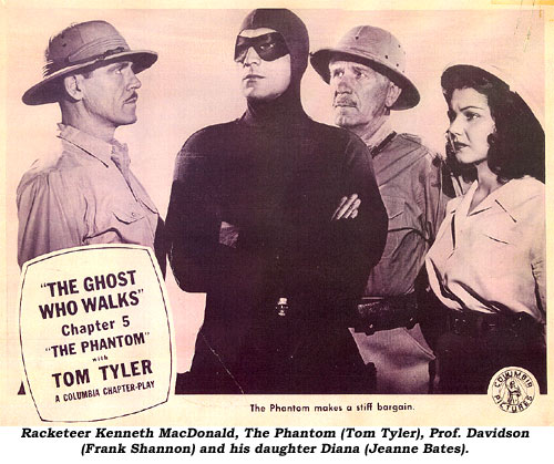 Racketeer Kenneth MacDonald, The Phanom (Tom Tyler), Prof. Davidson (Frank Shannon) and his daughter Diana (Jeanne Bates).
