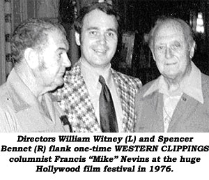 "Diectors William Witney (L) and Spencer Bennet (R) flank columnist Francis ""Mike"" Nevins at the huge Hollywood festival in 1976."