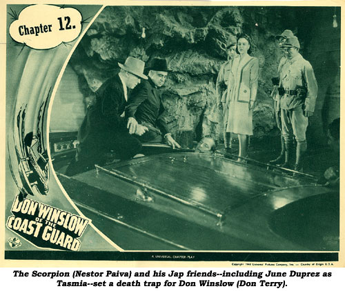 The Scorpion (Nestor Paiva) and his Jap friends--including June Duprez as Tasmia--set a death trap for Don Winslow (Don Terry).