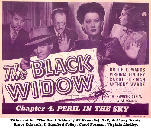 "Title card for ""The Black Widow"" ('47 Republic). (L-R) Anthony Warde, Bruce Edwards, I. Stanford Jolley, Carol Forman, Virginia Lindley."