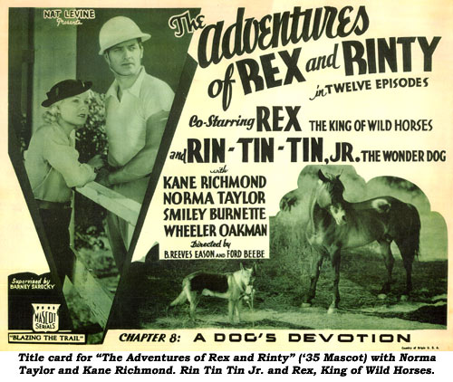 "Title card for ""The Adventures of Rex and Rinty"" ('35 Mascot) with Norma Taylor and Kane Richmond. Rin Tin Jr. and Rex, King of Wild Horses."