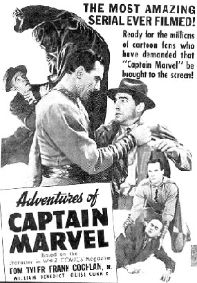 "Ad for ""Adventures of Captain Marvel""."