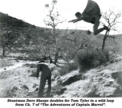 "Stuntman Dave Sharpe doubles for Tom Tyler in a wild leap from Ch. 7 of ""The Adventures of Captain Marvel""."