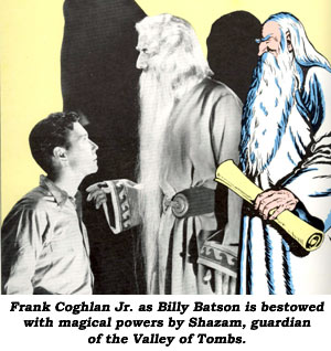 Frank Coghlan Jr. as Billy Batson is bestowed with magical powers by Shazam, guardian of the Valley of Tombs.