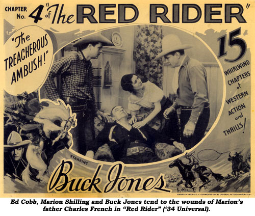 "Ed Cobb, Marion Shilling and Buck Jones tend to the wounds of Marion's father Charles French in ""Red Rider"" ('34 Universal)."