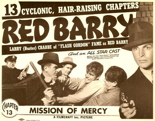 "Title card for Chapter 13 of ""Red Barry"", ""Mission of Mercy""."