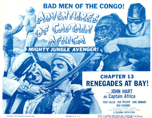 "Title card for ""Adventures of Captain Africa"" Chapter 13 ""Renegades at Bay!""."