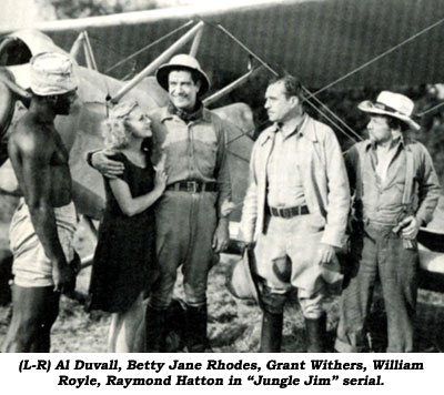 "(L-R) Al Duvall, Betty Jane Rhodes, Grant Withers, William Royle, Raymond Hatton in ""Jungle Jim"" serial."