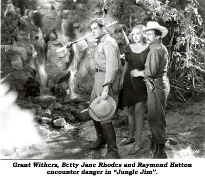 "Grant Withers, Betty Jane Rhodes and Raymond Hatton encounter danger in ""Jungle Jim""."