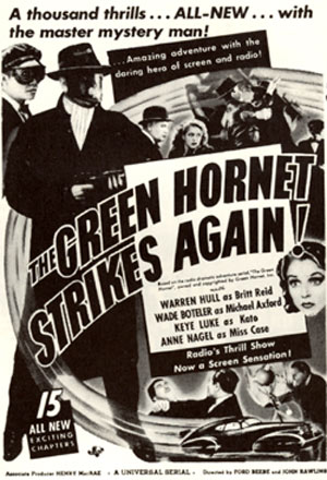 "Newspaper ad for ""The Green Hornet Strikes Again""."