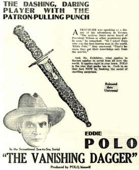 "Newspaper ad for ""The Vanishing Dagger"" starring Eddie Polo."