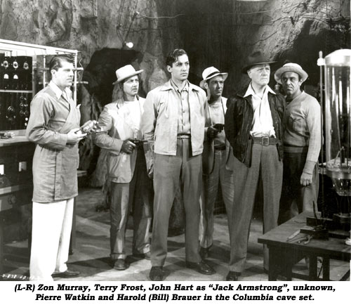"(L-R) Zon Murray, Terry Frost, John Hart as ""Jack Armstrong"", unknown, Pierre Watkin and Hugh Prosser."