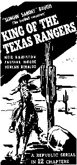 "Ad for ""King of the Texas Rangers""."