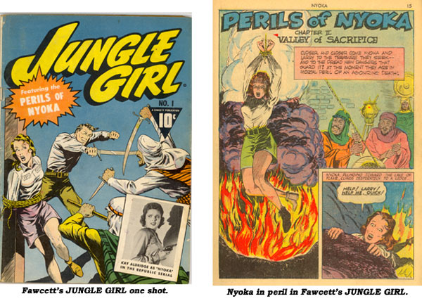 "Cover and splash page to ""Perils of Nyoka"" in JUNGLE GIRL #1."