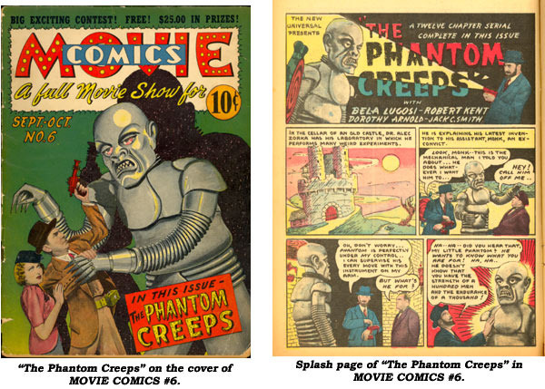 "Cover and splash page from ""The Phantom Creeps"" in MOVIE COMICS #6."