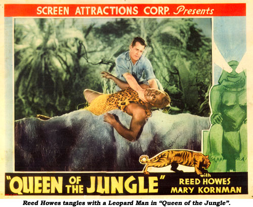 "Reed Howes tangles with a Leopard Man in ""Queen of the Jungle""."