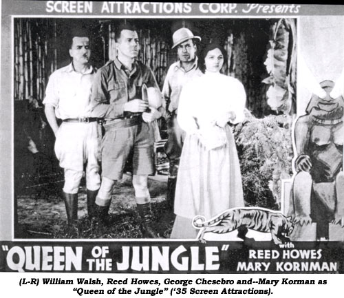"(L-R) William Walsh, Reed Howes, George Chesbro and--Mary Korman as ""Queen of the Jungle"" ('35 Screen Attractions)."