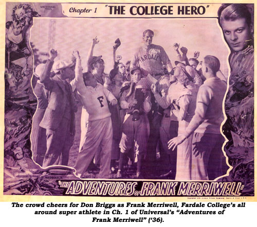 "The crowd cheers for Don Briggs as Frank Merriwell, Fardale College's all around super athlete in Ch. 1 of Universal's ""Adventures of Frank Merriwell"" ('36)."
