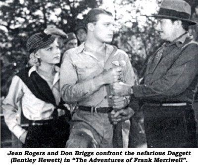 "Jean Rogers and Don Briggs confront the nefarious Daggett (Bentley Hewett) in ""The Adventures of Frank Merriwell""."