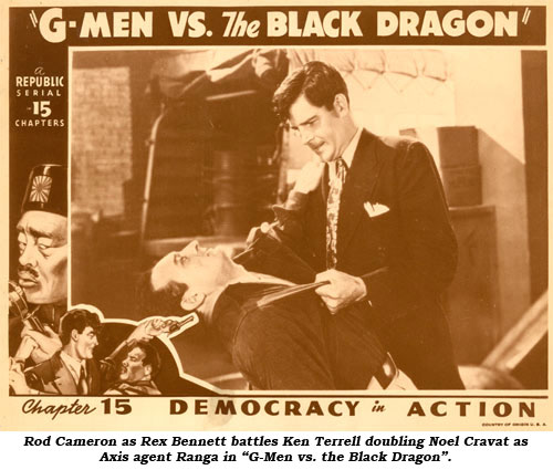 "Rod Cameron as Rex Bennett battles Noel Cravat as Axis agent Ranga in ""G-Men vs. the Black Dragon""."