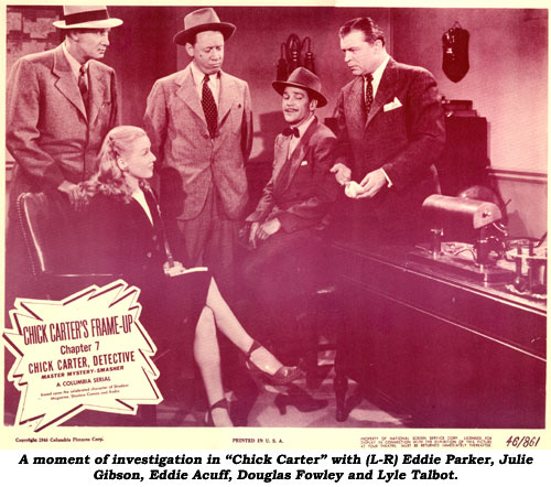 "A moment of investigation in ""Chick Carter"" with (l-r) Eddie Parker, Julie Gibson, Eddie Acuff, Douglas Fowley and Lyle Talbot."