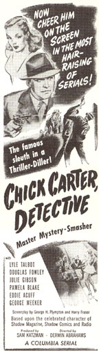 "Newspaper ad for ""Chick Carter, Detective""."
