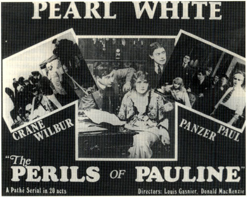 "Pear White title card for ""The Perils of Pauline""."